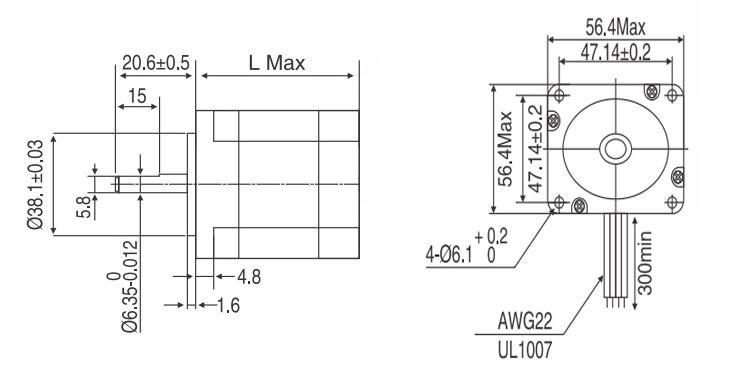 Nema 23 Stepper motor, 2A, 1 8 degree, 2 phase 6 wires | ATO com