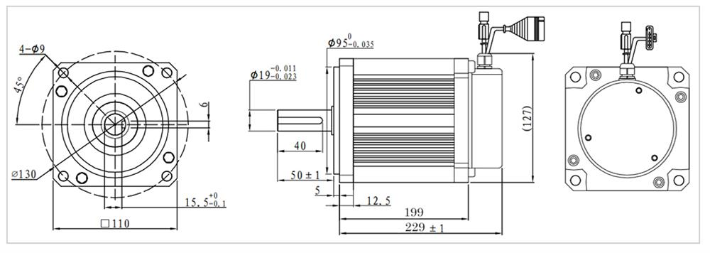 1.9kw 3000rpm bldc motor size
