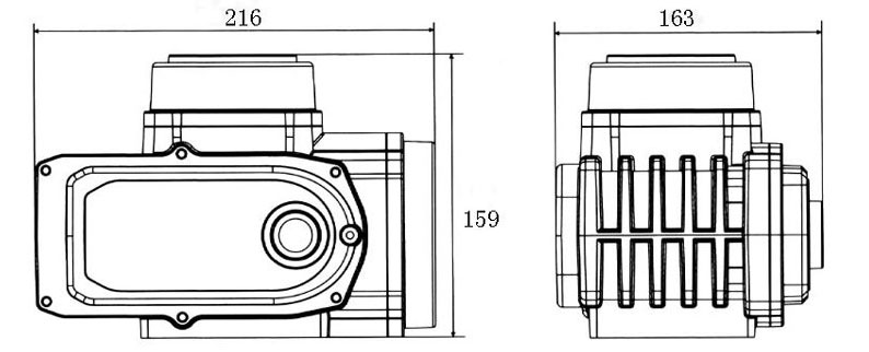 100Nm electric valve actuator dimensions
