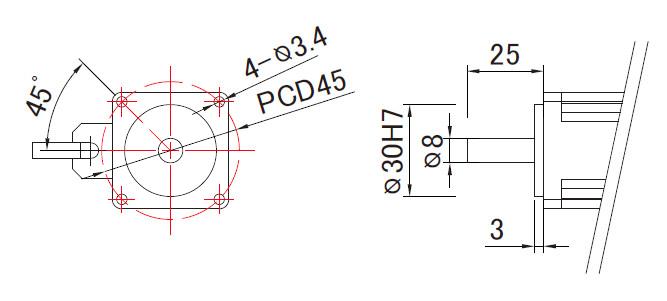 100W liner slide motor mounting dimensions