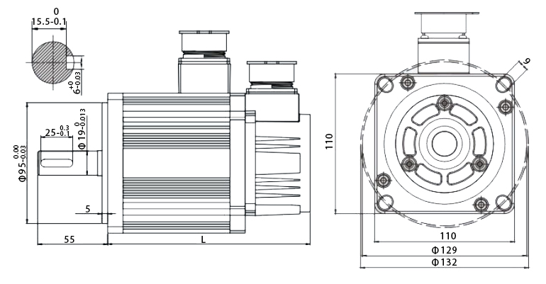 110 series servo motor dimension