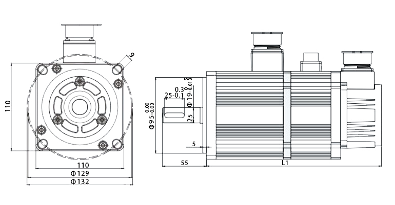 110 series servo motor with brake dimension