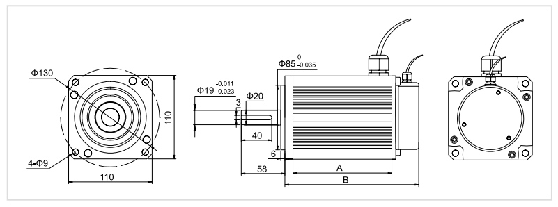110 mm bldc motor dimension