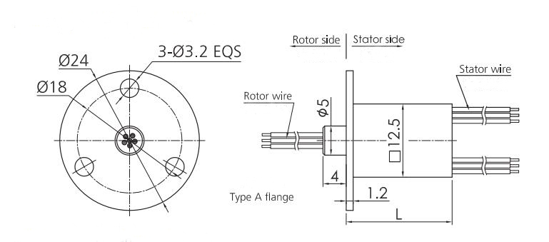 12.5mm Miniature Slip Ring (Type A Flange) Dimension Drawing
