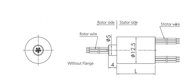 12.5mm Miniature Slip Ring (Without Flange) Dimension Drawing