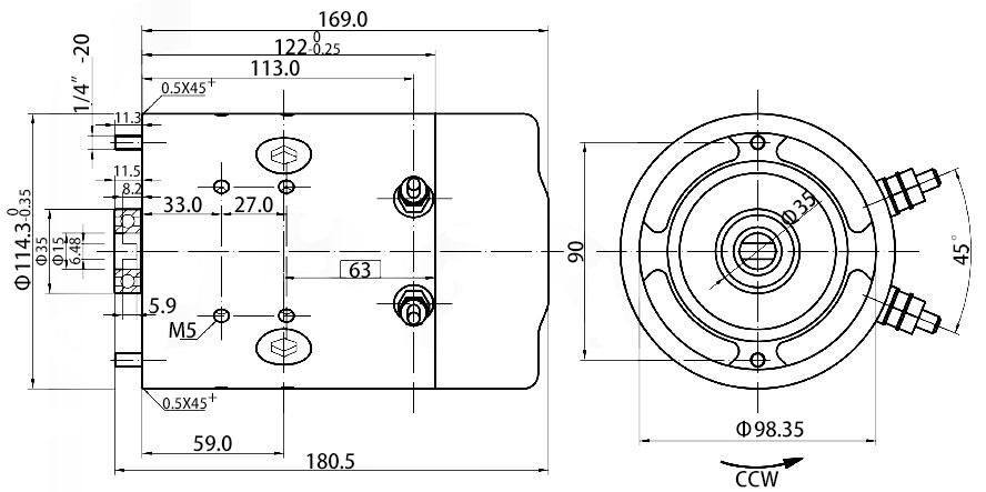 12V hydraulic motor dimension
