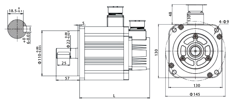130 series servo motor dimension