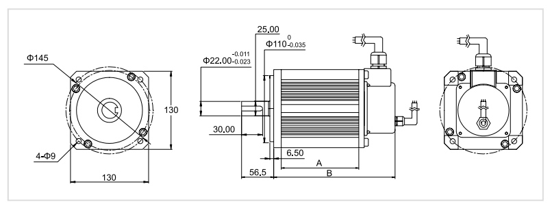 130 mm bldc motor dimension