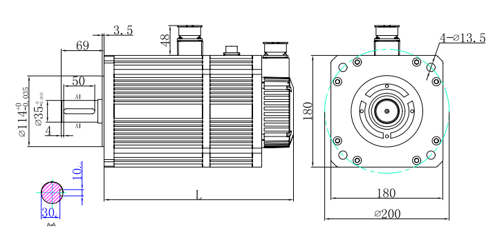 180 series servo motor with brake dimension