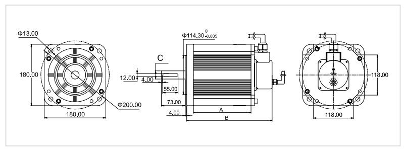 ATO 180 mm bldc motor dimension