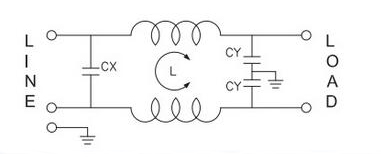 1A-6A 1-phase EMI line filter electrical schematic