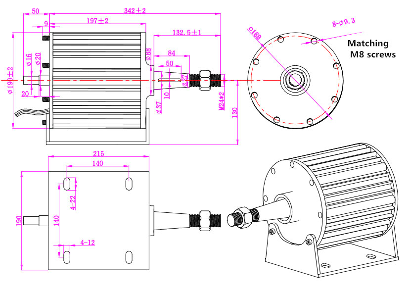 1kW alternator dimension