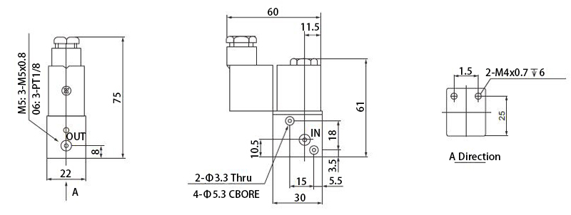 3/2-way Pneumatic Solenoid Valve Dimensions