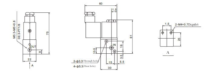 2 position 3 way solenoid valve flow dimensions