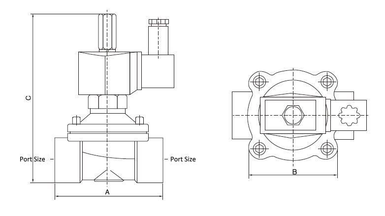 2-Way NO Stainless Steel Solenoid Valve Dimensions