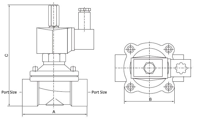 2-way normally open solenoid valve dimensions