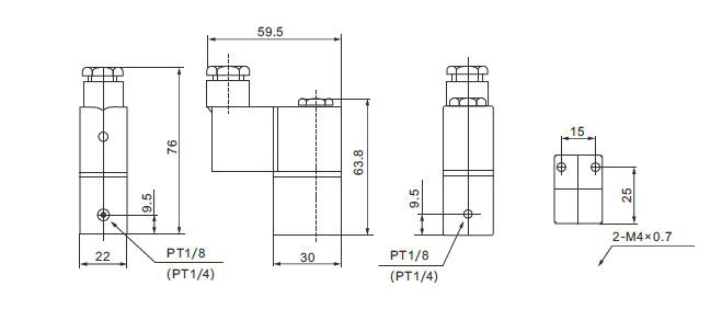 2-way pneumatic solenoid valve dimension