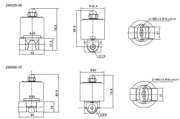 solenoid valve 2 way normally closed 12v 24v 220v for air water oil. Black Bedroom Furniture Sets. Home Design Ideas