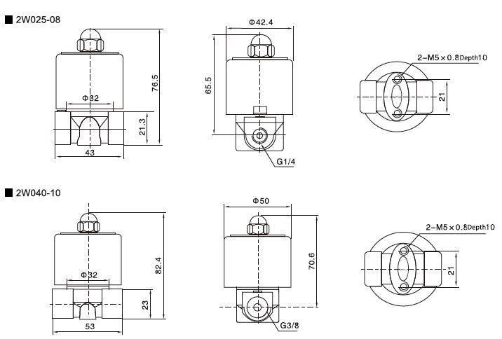 2-way solenoid valve normally closed dimensions