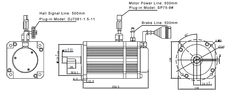 2.3kw 3000rpm bldc motor size