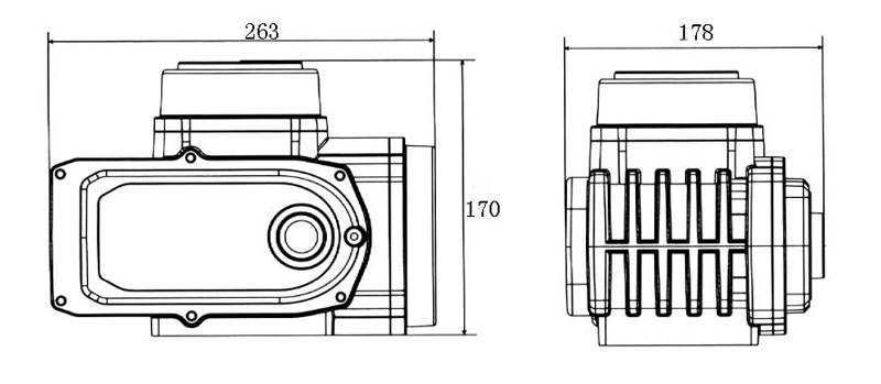 200Nm-600Nm electric valve actuator dimensions