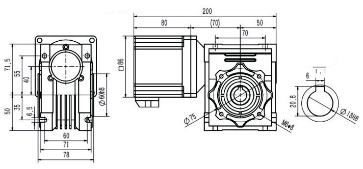 200w bldc motor worm gearbox dimension
