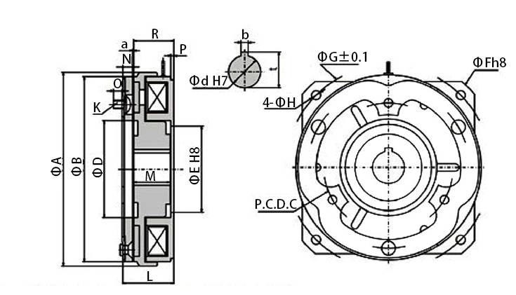 24V electromagnetic clutch dimension