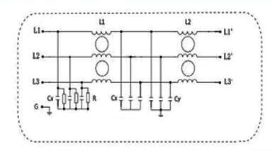 3-phase 2-stage Power Line Filter Electrical Schematic