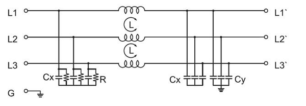 Three phase emi filter electrical schematic