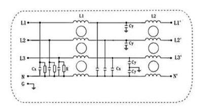 10A 3-Phase 4-Wire EMI Power Line Filter Electrical Schematic