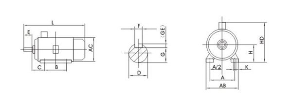 3-phase AC induction motor dimensions