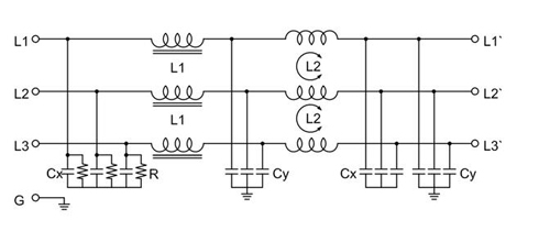 3-phase dual stage emi filter electrical schematic