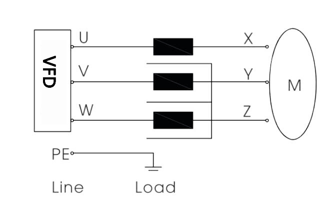 3 phase output line reactor circuit diagram.