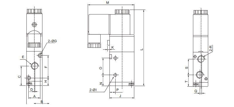 3/2-Way N/O Pneumatic Solenoid Valve Dimensions