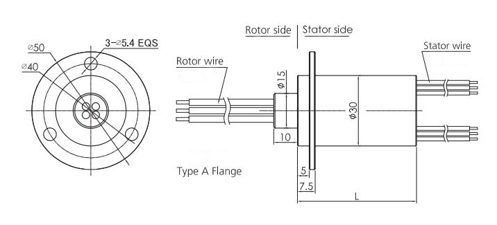 30mm Miniature Electrical Slip Ring (Type A Flange) Dimension Drawing