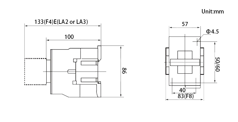 32amps AC contactor mounting dimensions