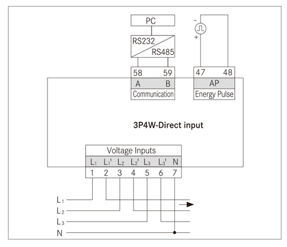 3 phase direct input energy meter wiring