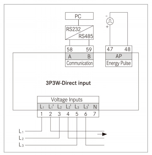 3 phase 3 wire direct input energy meter wiring