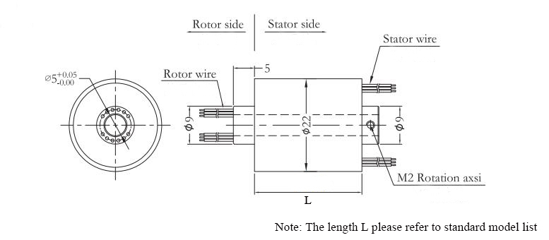 ATO-THSR-H0522 (12 Circuits) Through Hole Slip Ring Dimension Drawing