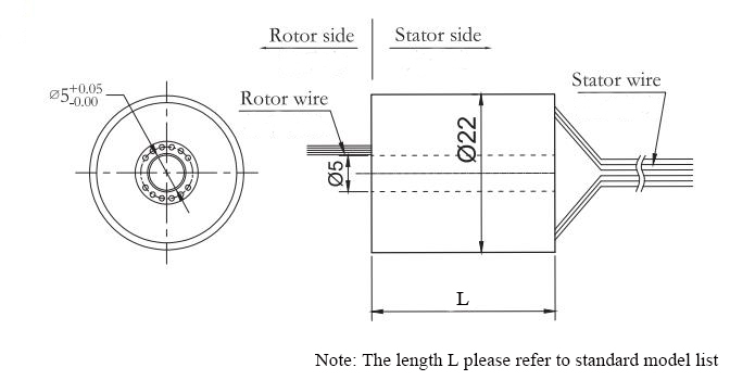 ATO-THSR-H0522 (6 Circuits) Through Hole Slip Ring Dimension Drawing