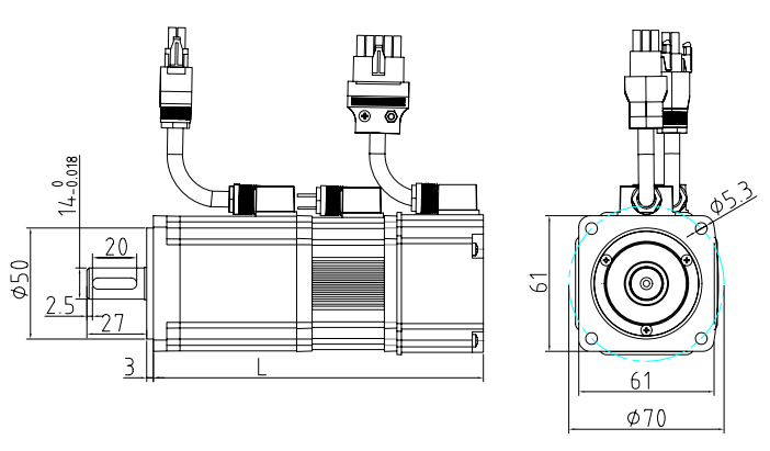 60 series servo motor with brake dimension