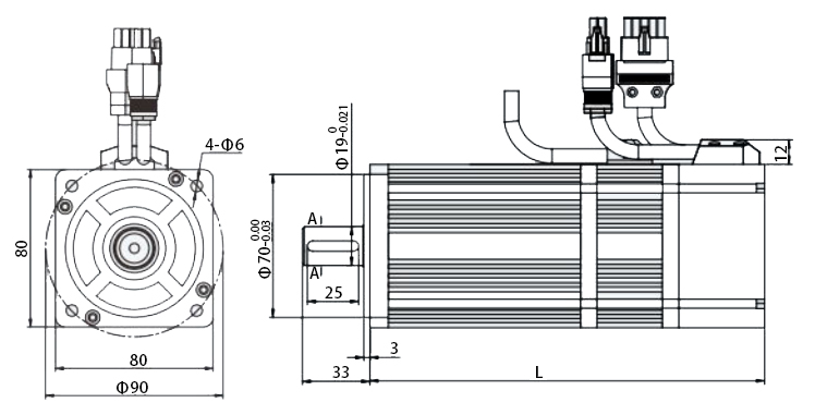 80 series servo motor with brake dimension