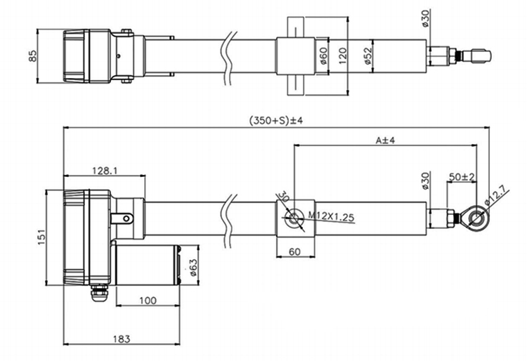 8000N linear actuator dimensions