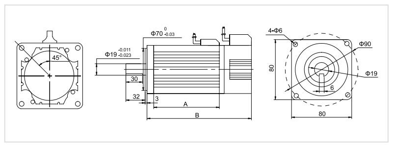 400W 24V/48V BLDC motor dimension