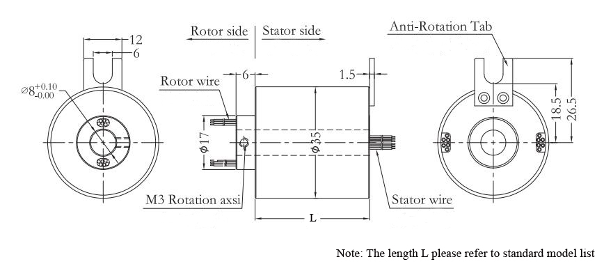 ATO-THSR-H0835 Through Hole Slip Ring Dimension Drawing