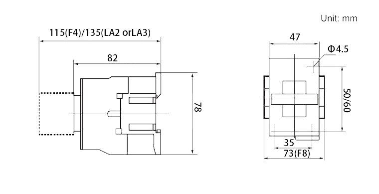 AC contactor mounting dimensions