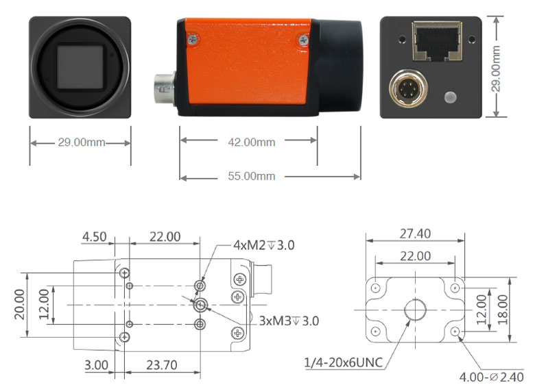 GigE vision industrial camera dimensions