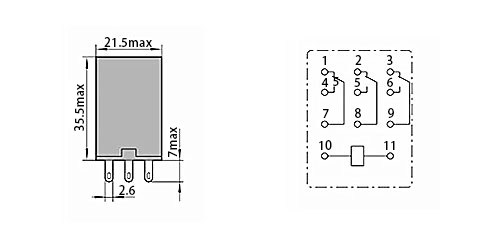 HH53PL electromangetic relay dimensions connection diagram