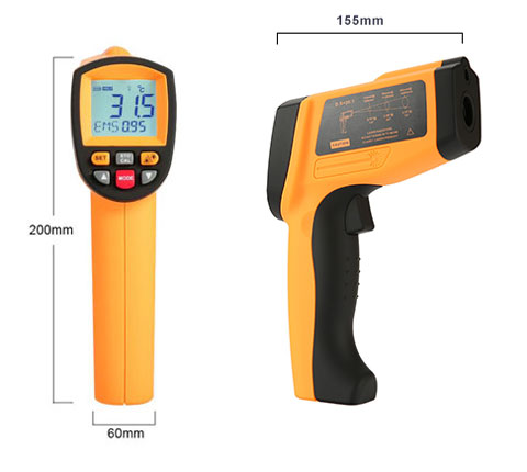High temperature infrared ir thermometer dimension