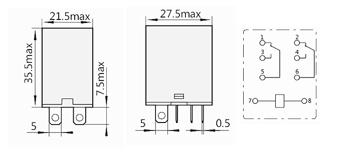 JQX-13F-2Z Electromangetic Relay Dimensions and Connection Diagram